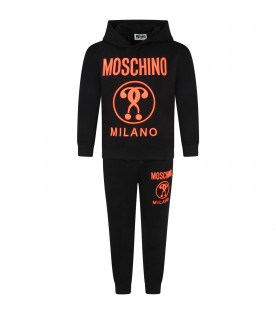 Black tracksuit for kids with logo
