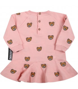 Pink dress for baby girl with teddy bears