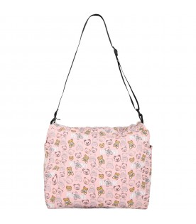 Pink changing bag for baby girl with teddy bears