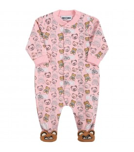 Pink babygrow for baby girl with teddy bears