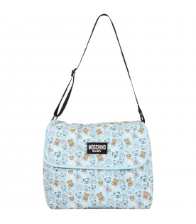 Light blue changing bag for baby with teddy bears