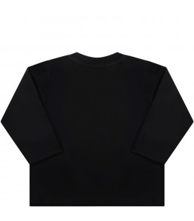 Black T-shirt for baby kids with logo