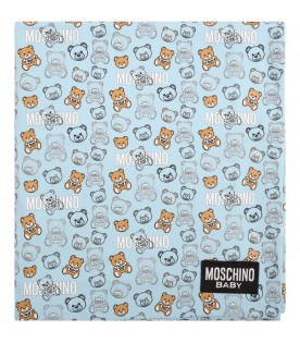 Light blue blanket for baby boy with teddy bears