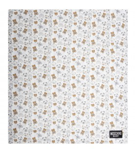 White blanket for baby kids with teddy bears