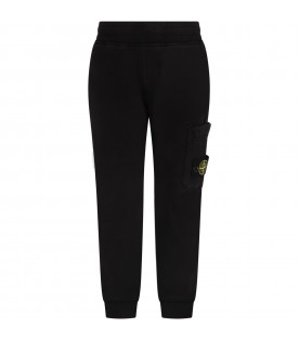 Black sweatpant for boy with iconic compass