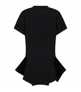 Black dress for girl with double logo