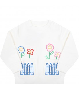 Ivory sweatshirt for baby girl with flowers