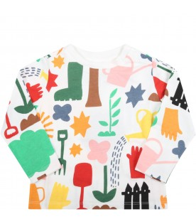 White t-shirt for baby kids with colorful prints