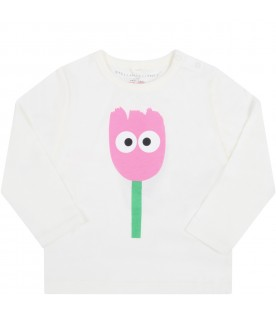 White t-shirt for baby girl with tulip