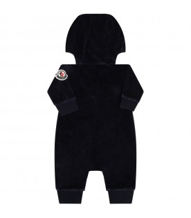 Blue babygrow for baby kids with logo