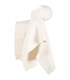 Ivory poncho for girl with iconic FF logo