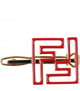 Red hair-clip for girlw ith double FF logo