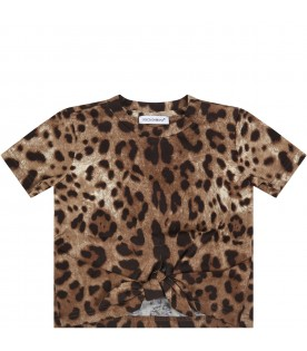 Brown T-shirt for baby girl with logo