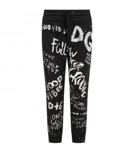 Black sweatpants for kids with graffiti style prints