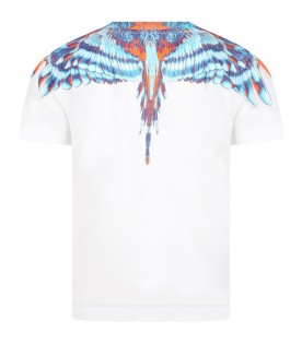 White t-shirt for boy with iconic wings