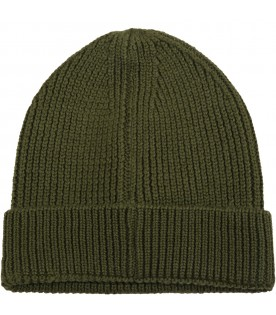 Military green hat for kids with cross