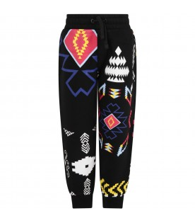 Black sweatpant for boy with iconic prints