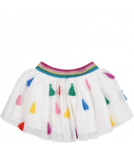 White skirt for baby girl with colorful details