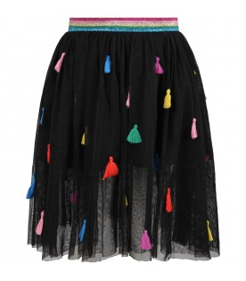 Black skirt for girl with colorful details