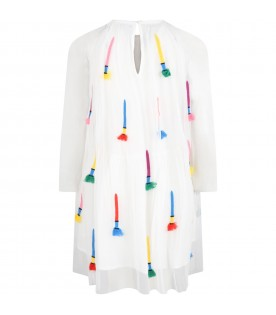 White dress for girl with colorful details