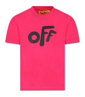 Fuchsia T-shirt for kids with iconic arrows