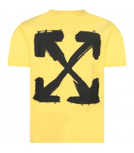 Yellow T-shirt for kids with black logo