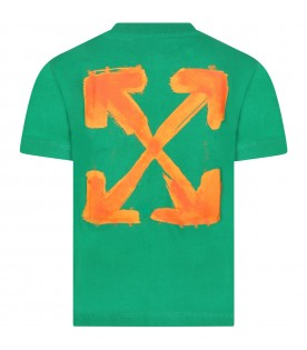 Green T-shirt for kids with iconic arrows