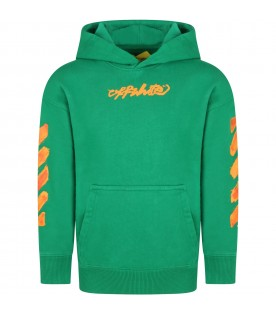 Green sweatshirt for kids with iconic arrows