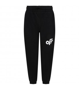 Black sweatpants for kids with Off logo