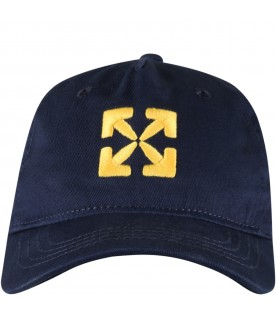 Blue hat for kids with iconic arrows