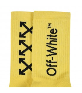 Yellow socks for kids with logo and arrows