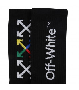 Black socks for kids with logo and arrows