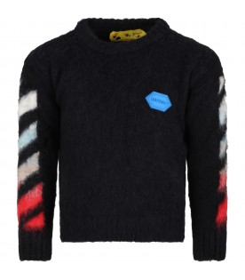 Black sweater for kids with blue logo