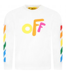 White t-shirt for kids with multicolored logo