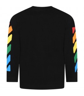 Black t-shirt for kids with multicolored logo