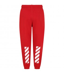Red weatpants for boy with logo