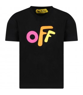 Black t-shirt for girl with colorful logo