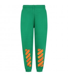 Green weatpants for boy with logo