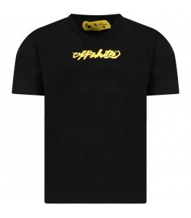 Black T-shirt for kids with yellow logo