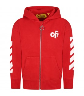 Red sweatshirt for kids with Off logo