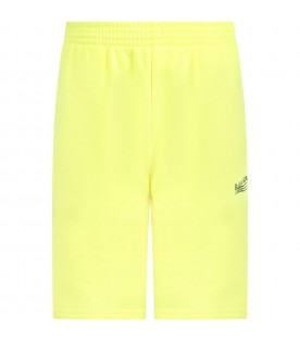 Neon yellow short for kids with logo