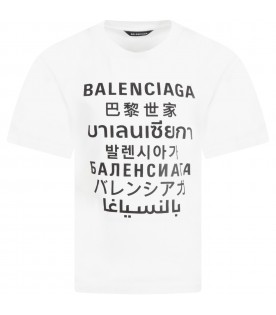 White T-shirt for kids with logos