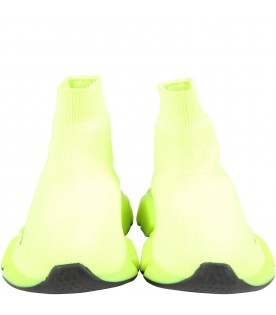 Neon yellow sneakers for kids with logo