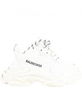 White sneakers Triple S for kids with logo
