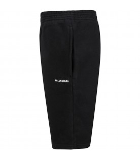 Black shorts for kids with white logo