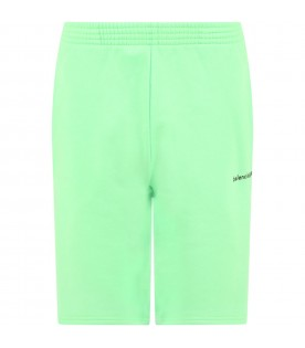 Neon green short for kids with logo