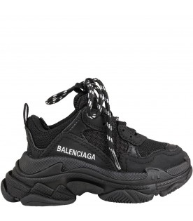 Black sneakers Triple S for kids with logo