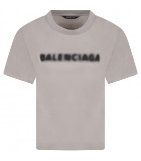 Gray T-shirt for kids with black logo