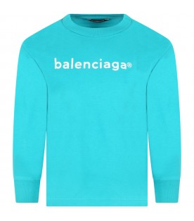 Turquoise T-shirt for kids with white logo