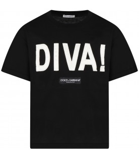 Black T-shirt for girl with Diva writing